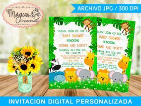 Baby Shower Safari Nino Decoracion.Invitacion Digital Baby Shower Ninos Safari Cute