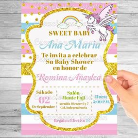 Invitación Digital Baby Shower Unicornio