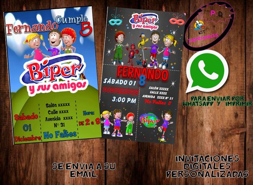 Invitación Digital Biper Y Sus Amigos Cumpleaños