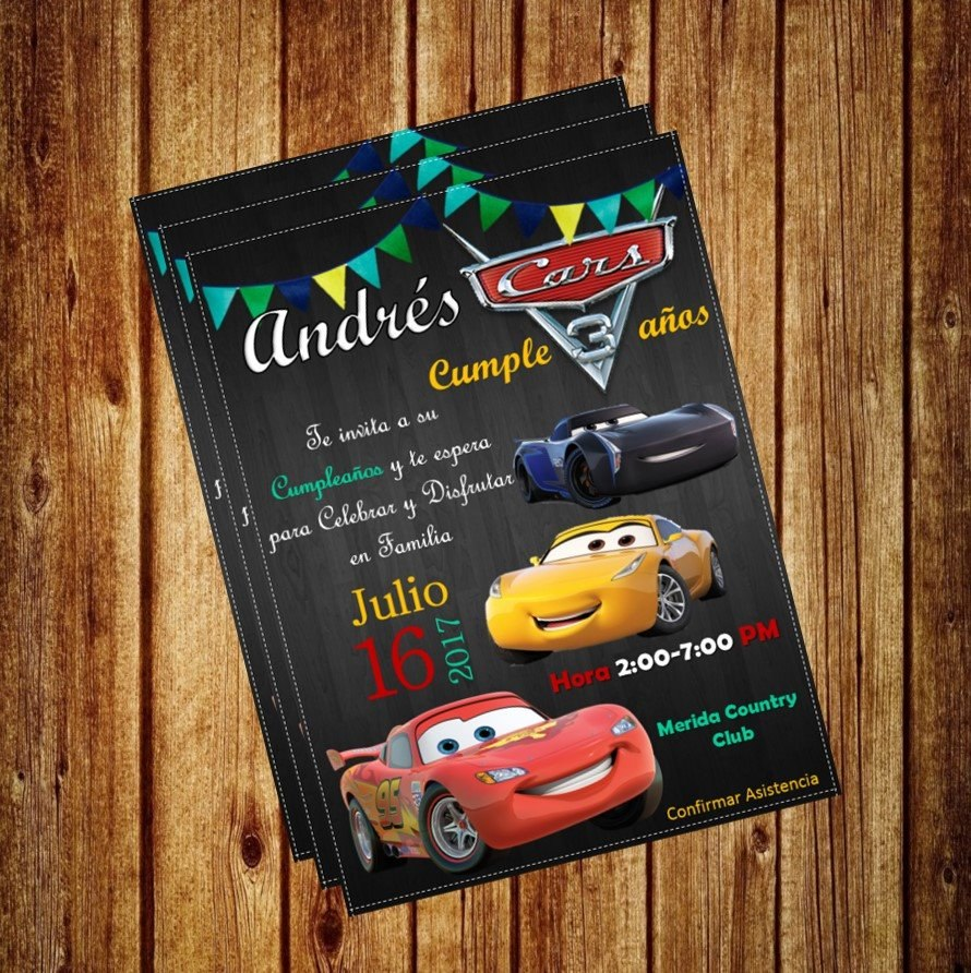 Invitacion Digital Cars Disney Rayo Mcqueen