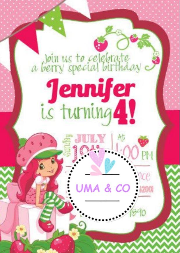 3b84f5d6e Invitación Digital Cumpleaños Baby Shower Frutillitas - $ 85,00 en ...