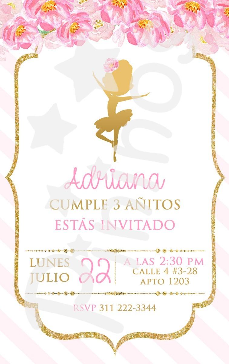Invitacion Digital Cumpleanos Ballet Bailarina Nina 6 000 En
