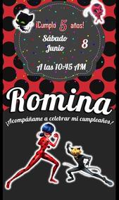 Invitacion Digital Cumpleaños Miraculous Ladybug Video Niños