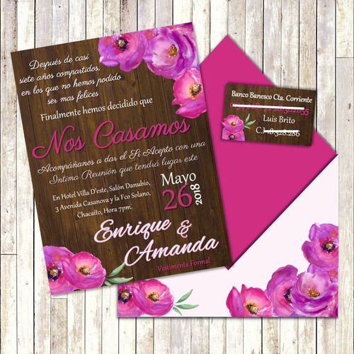 invitacion digital de boda con sobre y tarjeta para regalo
