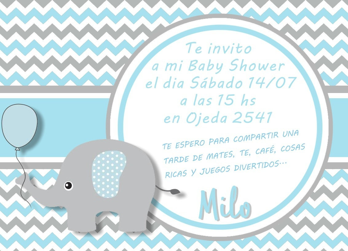 Invitacion Digital De Cumpleanos Baby Shower Elefante 69 99 En