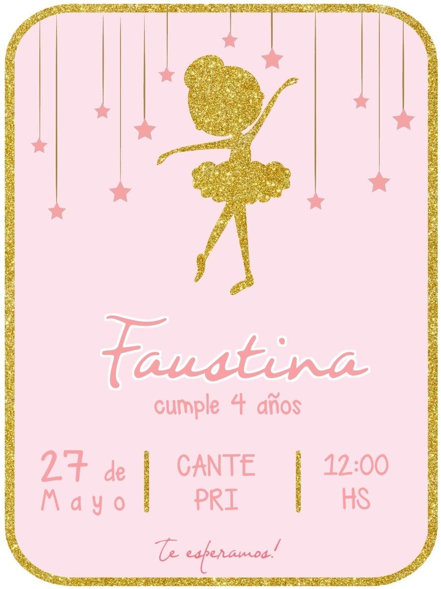 Invitacion Digital De Cumpleanos Bailarina Ballet 69 99 En