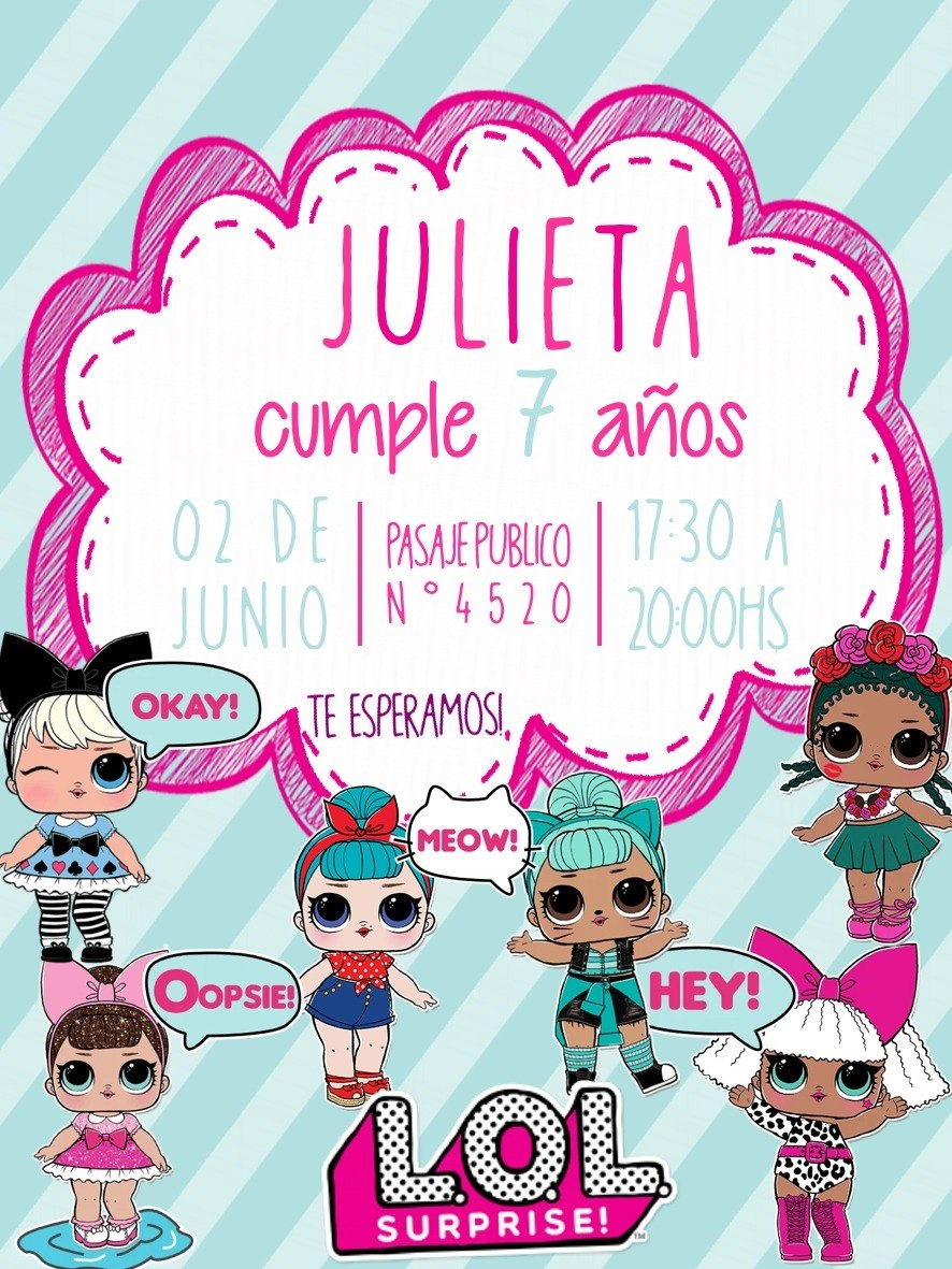 4ffe3bbf31b Invitación Digital De Cumpleaños Lol Surprise - $ 69,99 en Mercado Libre