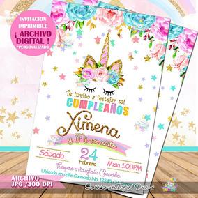 Invitación Digital De Cumpleaños Unicornios Personalizadas