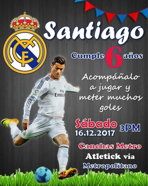 Invitacion Digital De Futbol Real Madrid Barcelona