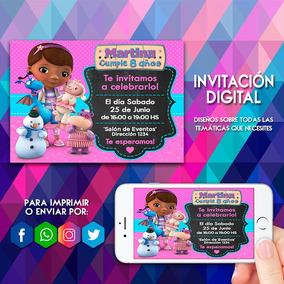 Invitación Digital Doctora Juguetes Doc Mcstuffins Tarjeta
