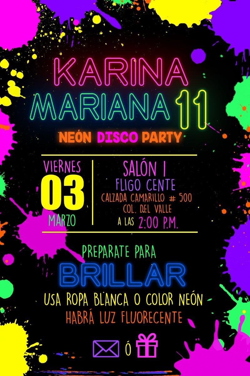 Invitación Digital E Imprimible Neon Party Neón Niño Niña