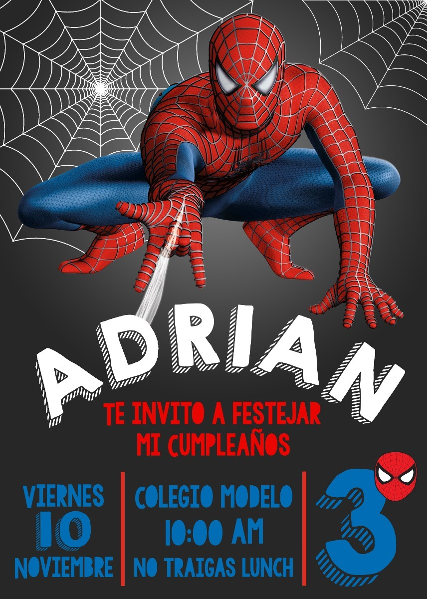 Invitaci 243 N Digital E Imprimible Spiderman 75 00 En