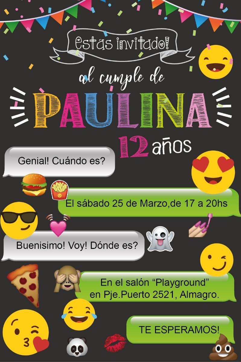Invitacion Digital Emoji Cumpleaños Tarjeta Whatsapp