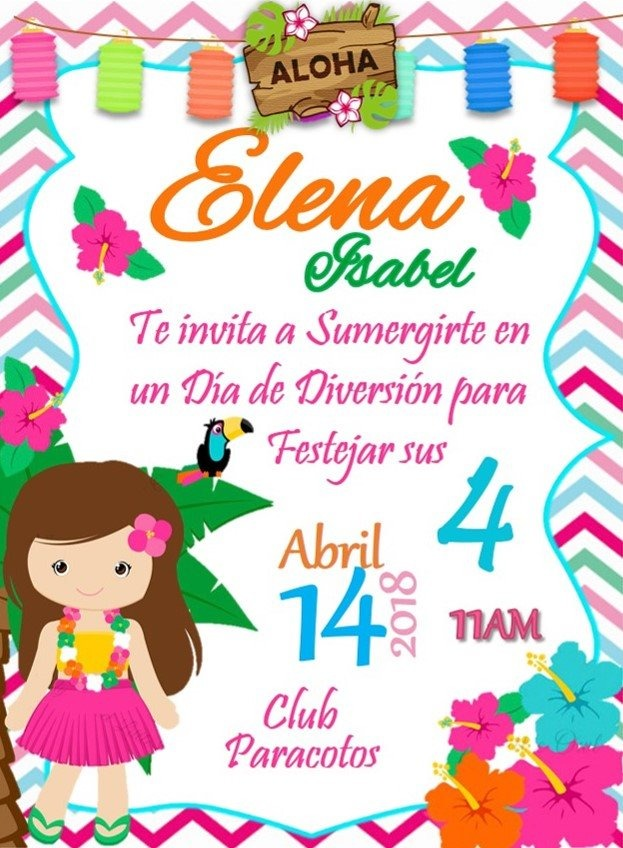 Invitacion Digital Fiesta Hawaiana Tiki