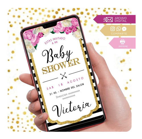 invitación digital flores baby shower - salta violeta