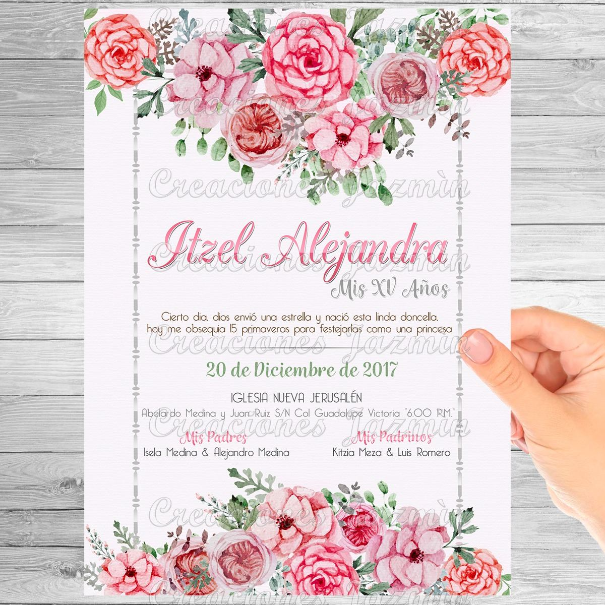 Invitacion Digital Flores Xv Anos Baby Shower Bautizo Etc