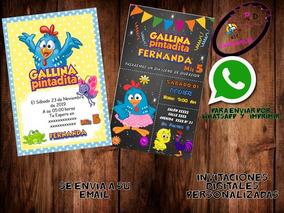 Invitación Digital Gallina Pintadita Cumpleaños Fiesta