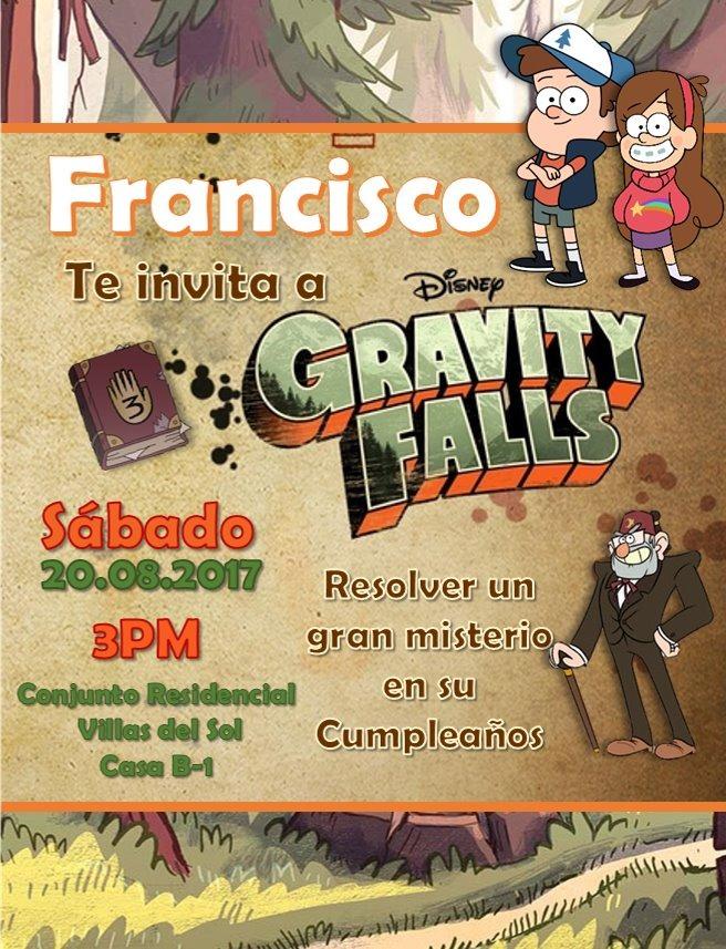 Invitacion Digital Gravity Fall Phineas Y Ferb