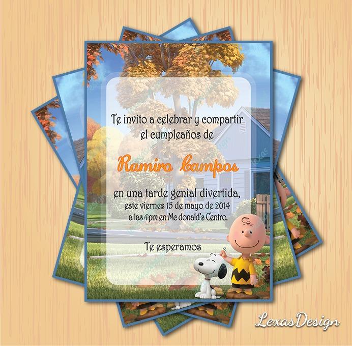 Invitacion Digital Imprimible Charlie Brown Cumpleaños - $ 60.00 en ...
