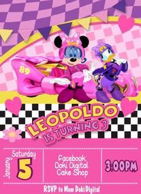 Invitacion Digital Imprimible De Mickey Sobre Ruedas Minnie