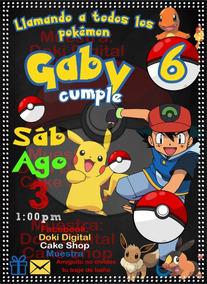 Invitacion Digital Imprimible De Pokemon