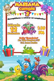 Invitación Digital Imprimible Gallina Pintadita Cumpleaños
