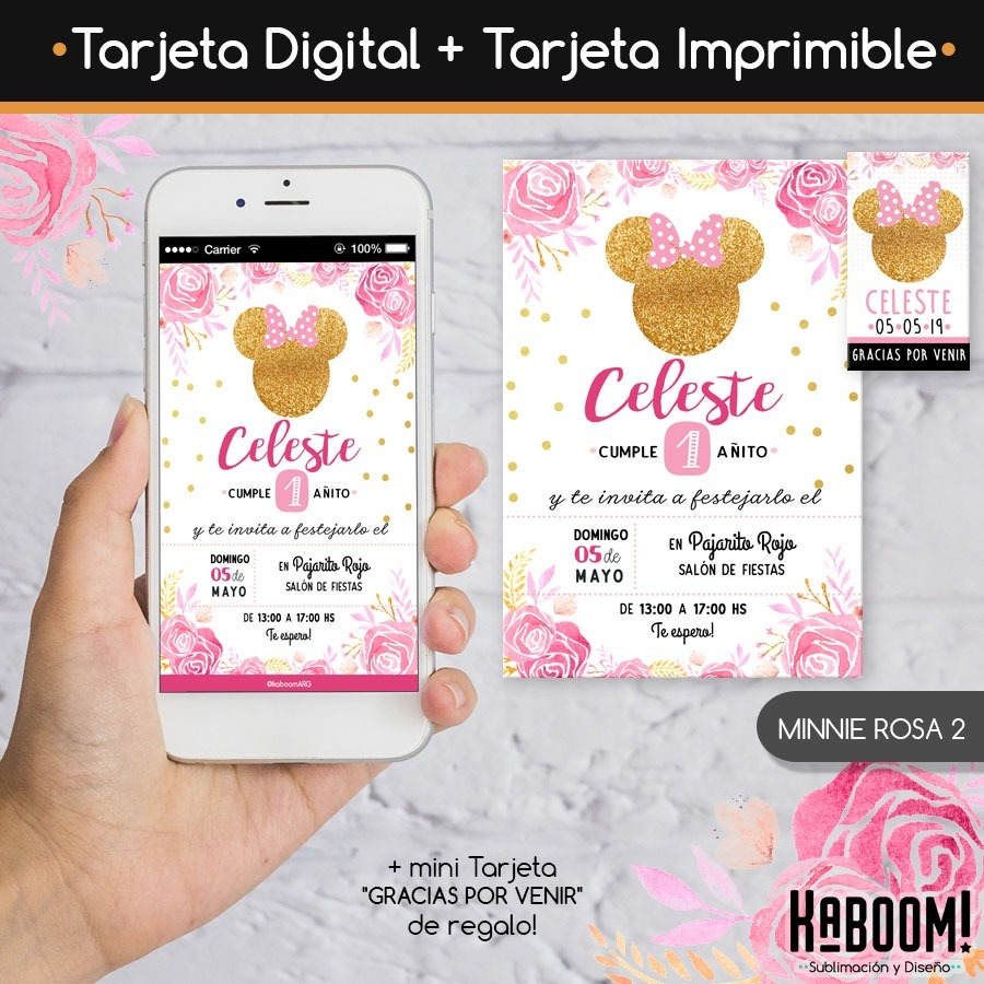 Invitación Digital Imprimible Tags Minnie Rosa Dorado
