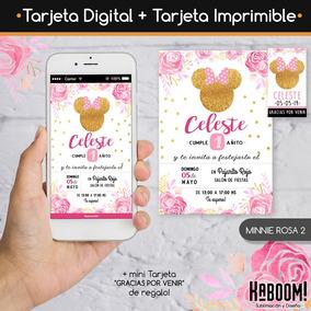 Invitación Digital Imprimible Tags Minnie Rosa Dorado