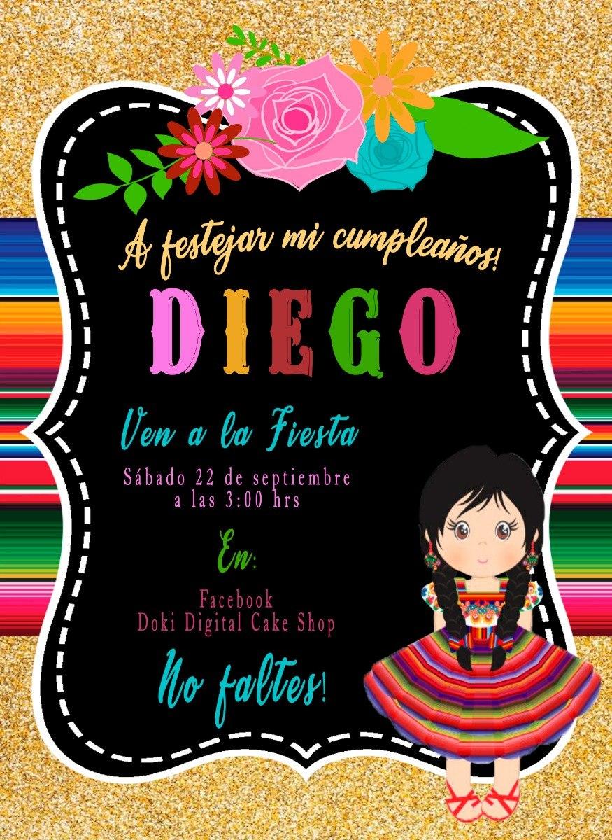 52ae9fab44dce Invitación Digital Imprimible Tema Mexicano -   60.00 en Mercado Libre