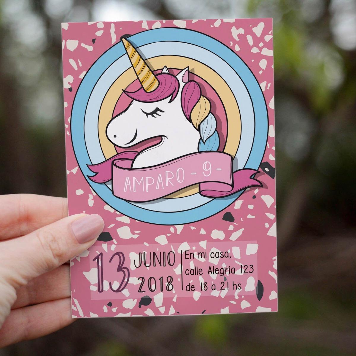 Invitación Digital Imprimible Unicornio Personalizada Fiesta - $ 40 ...