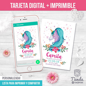 Invitación Digital Imprimible Unicornio Turquesa