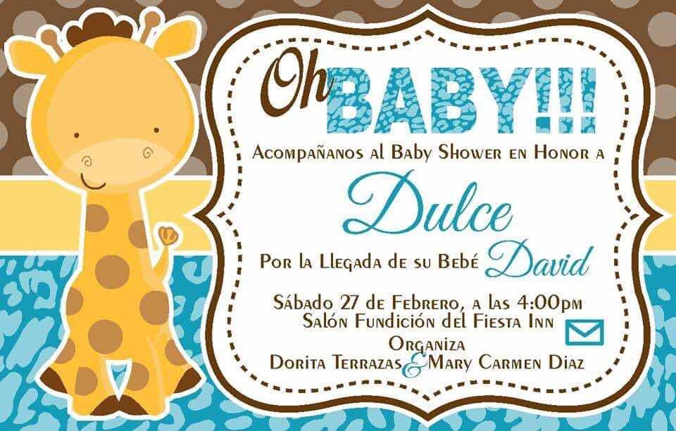 Invitación Digital Jirafa Baby Shower Cumpleaños
