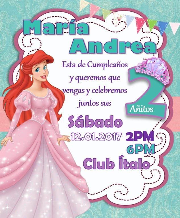 Invitacion Digital La Sirenita Princesa Ariel