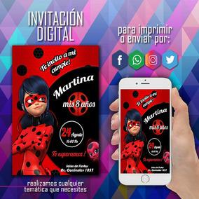 Invitacion Digital Ladybug Miraculous Prodigiosa Whatsapp
