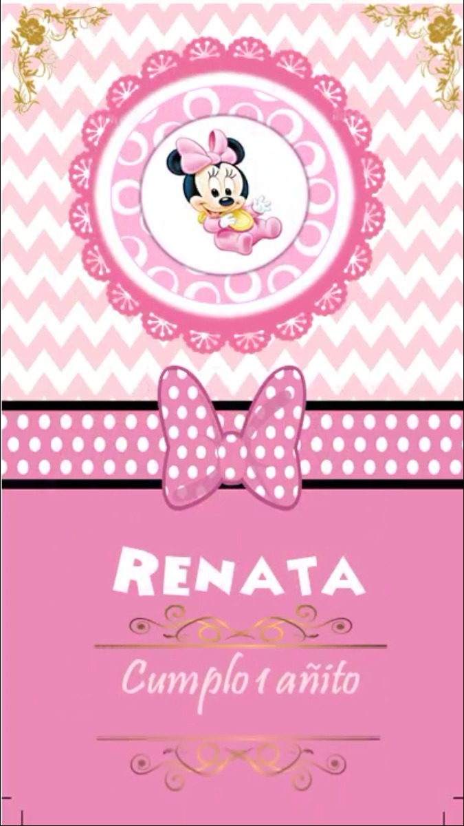 Invitación Digital Minnie Bebe Video Tarjeta