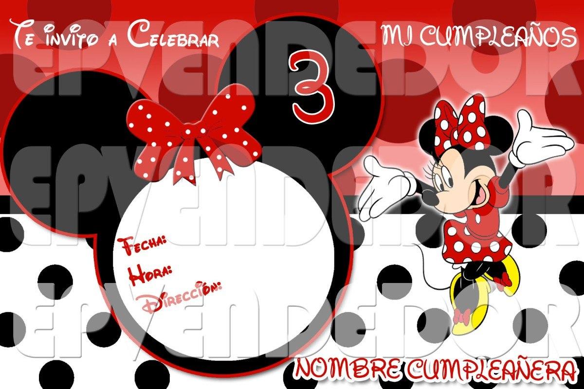 Invitacion Digital Minnie Mouse Puntos Invitaciones Epv