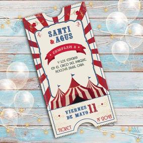 Invitacion Digital O Imprimible Circo Kermesse Ticket Mod 02