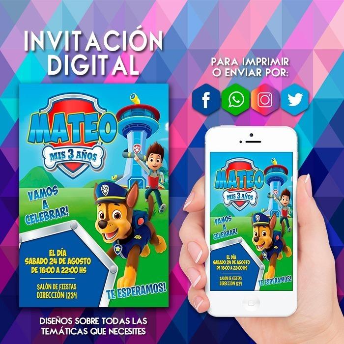 Invitación Digital Paw Patrol Patrulla De Cachorros Tarjeta