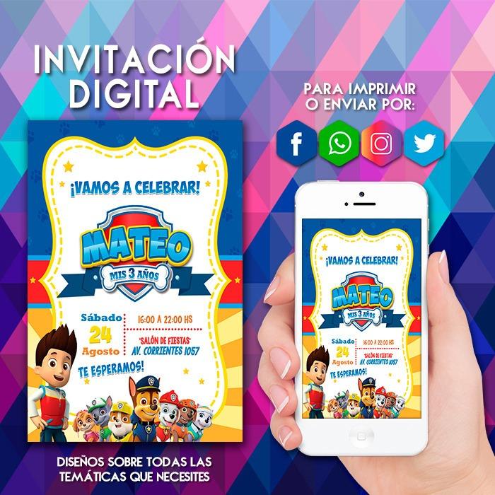 Invitacion Digital Paw Patrol Patrulla De Cachorros Tarjeta