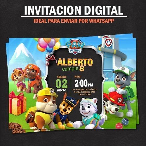 Invitacion Digital Paw Patrol Tarjeta De Cumpleaños