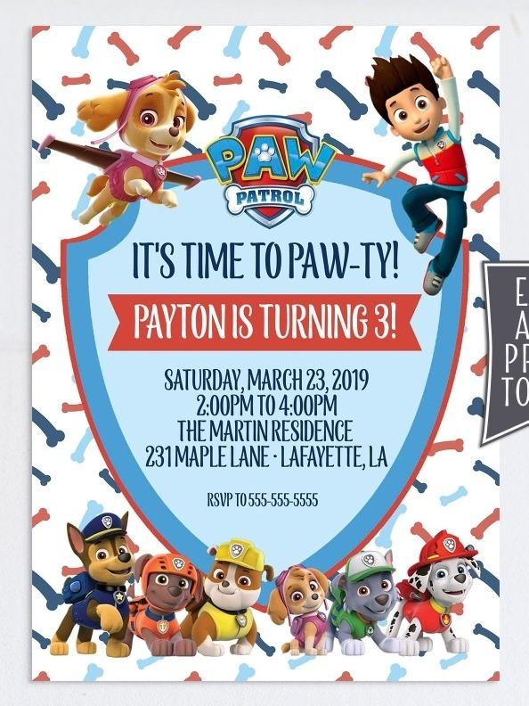 Invitación Digital Paw Patrol Tarjetas De Cumpleaños Torta