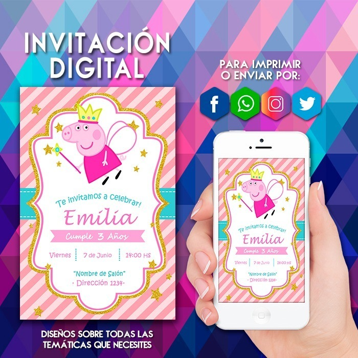 Invitacion Digital Peppa Pig Hada Hadita Tarjeta Virtual