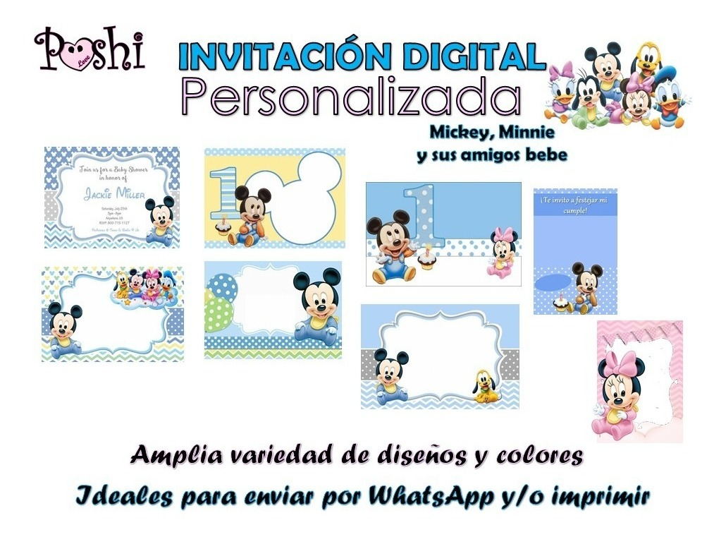 Invitacion Digital Personalizada Mickey Minnie Bebe Topper Bs