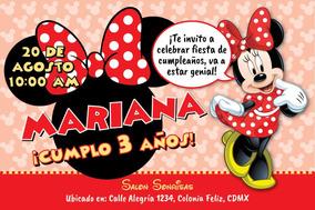 Invitación Digital Personalizada Minnie Mouse Roja