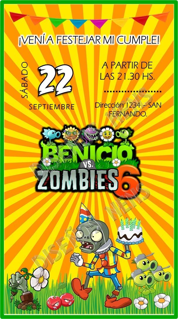 Invitación Digital Plantas Vs Zombies Tarjeta Imprimible