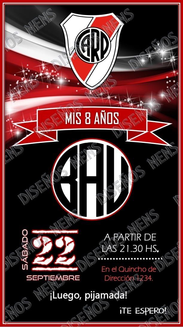 Invitación Digital River Plate Imprimible Tarjeta Cumpleaños