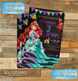 Invitacion Sirenita Invitaciones Y Tarjetas Por Por Unidad