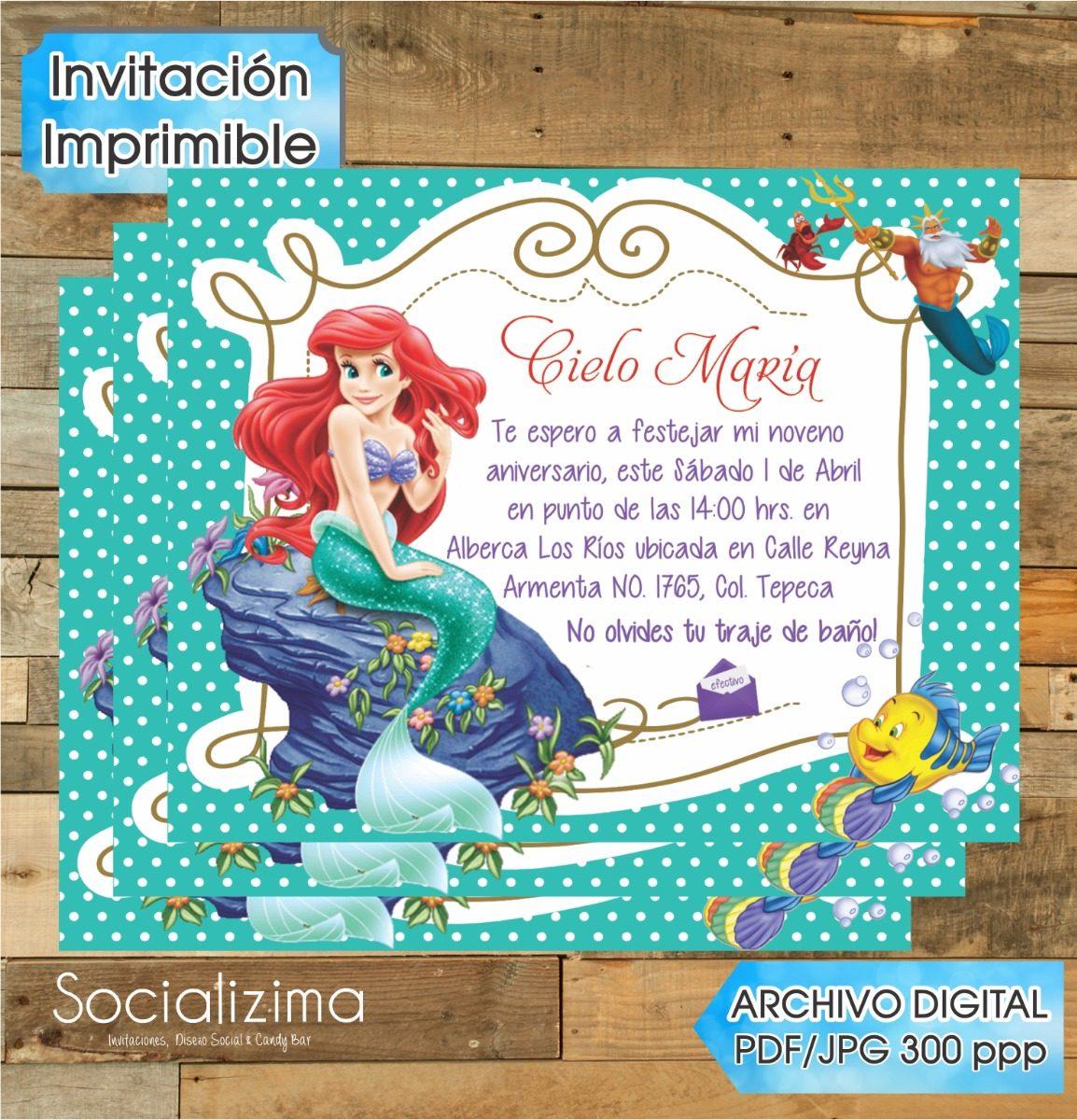 invitacion digital sirenita ariel