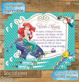 Lenceria Ariel Sirenita Invitaciones Y Tarjetas De