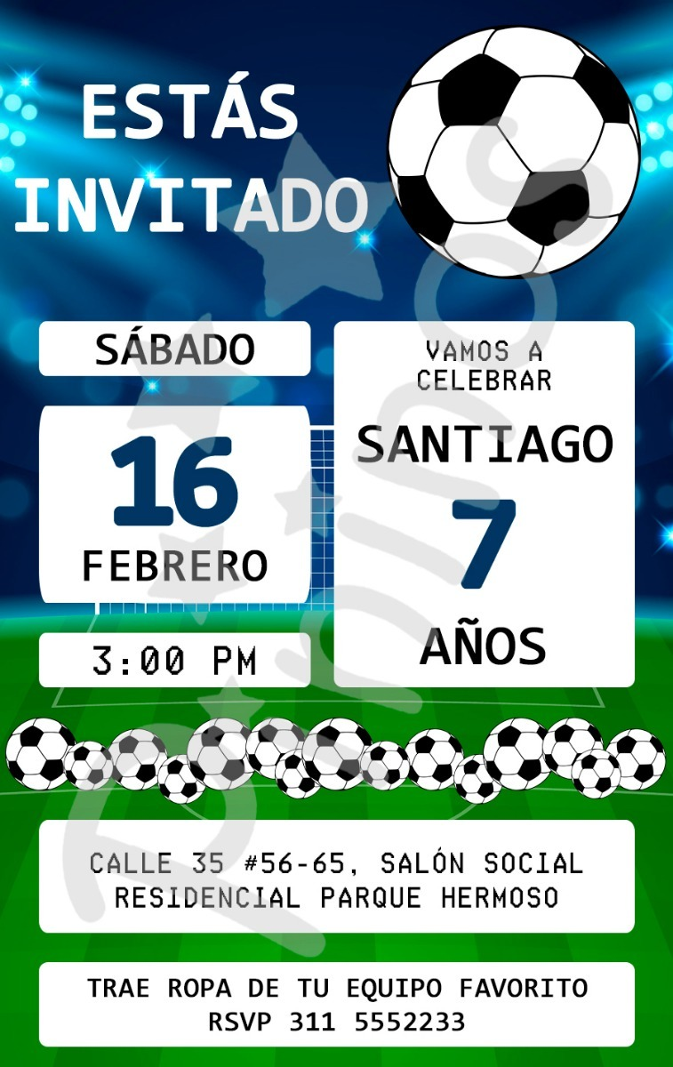 Invitación Digital Tarjeta Fiesta Fútbol Niño
